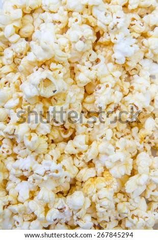 popcorn grains on the white background - stock photo
