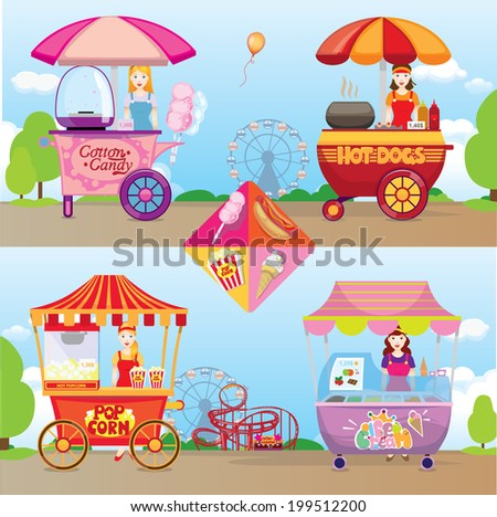 popcorn, ice cream, hot dogs, cotton candy set - stock photo