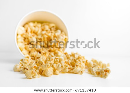 popcorn in a box isolated on white