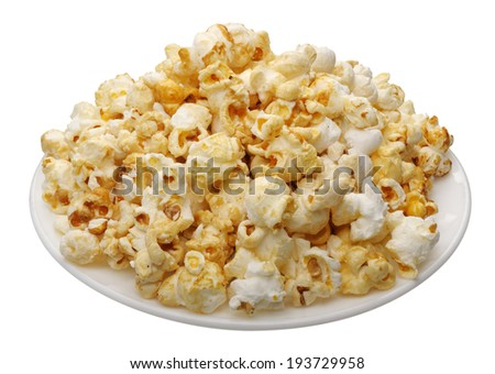 Popcorn in a white cup on a white background, isolated  - stock photo