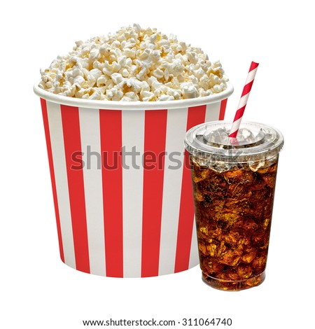 Popcorn in box with cola in takeaway cup isolated on white background