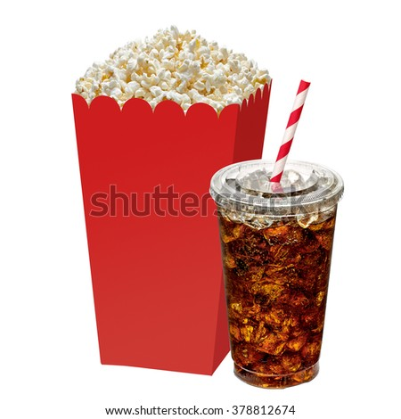 Popcorn in box with cola in takeaway cup on white background