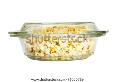 popcorn in glass isolated on white background - stock photo