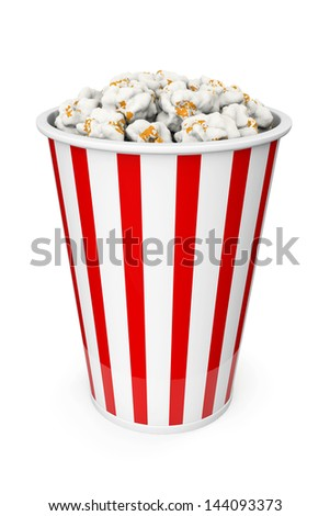 Popcorn in red and white backet on a white background