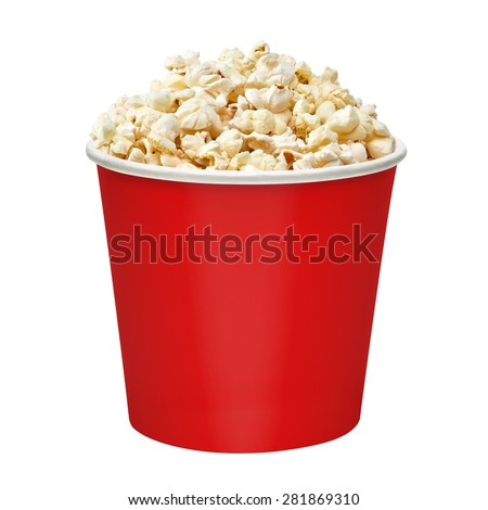 Popcorn in red bucket on white background