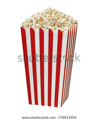 Popcorn in striped bucket isolated on white background  - stock photo