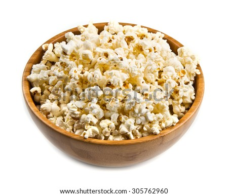 popcorn in wooden bowl  - stock photo