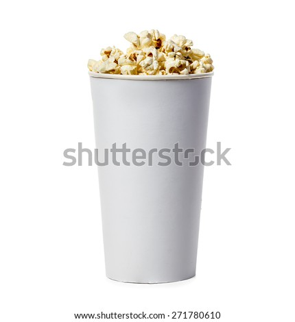 Popcorn isolated in cardboard box on a white background