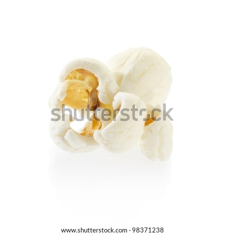 Popcorn isolated on white, clipping path included - stock photo