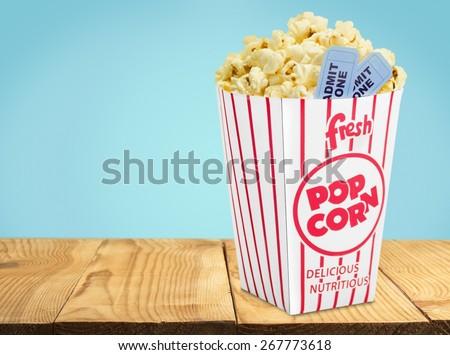 Popcorn. Movie Tickets & Popcorn Isolate - stock photo