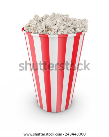 Popcorn  on white background 3d render