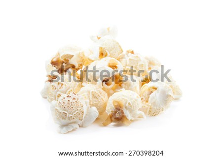 Popcorn pile isolated on white - stock photo