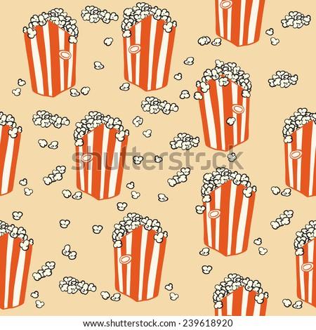 popcorn seamless pattern cartoon illustration - stock photo