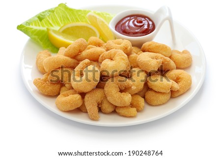 popcorn shrimp with ketchup sauce isolated on white background - stock photo