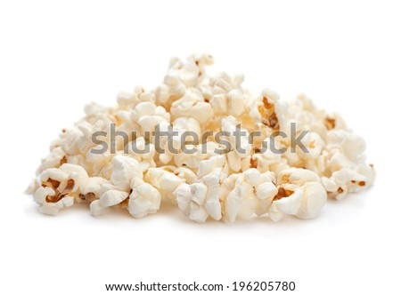 Popcorn snack closeup isolated on white background - stock photo