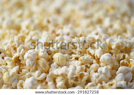 Popcorn Texture Background. Salted Popcorn Grains. Text Space - stock photo