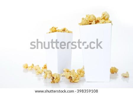 popcorn white box on white background - stock photo