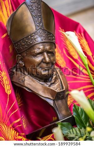 Pope John Paul II monument for sanctification of 04-27-2014 - stock photo
