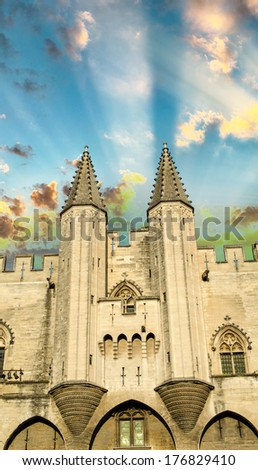 Popes' Palace of Avignon, unesco world heritage in Southern France. - stock photo