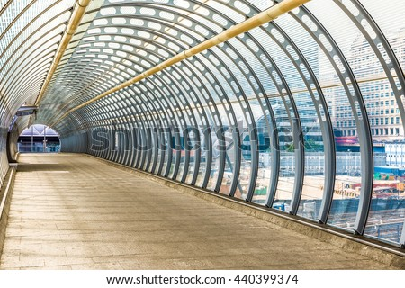 Poplar pedestrian tunnel footbridge in London - stock photo