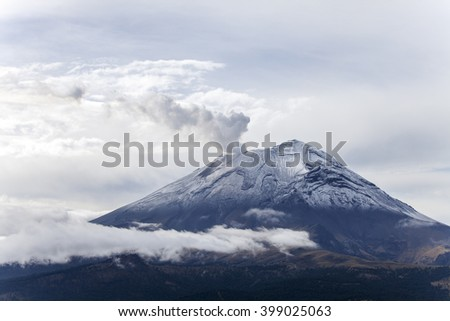 popocatepetl volcano in mexico in summer
