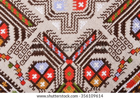 POPOVO, BULGARIA - December 26, 2015 - Ethnographic Museum folklore female national costume and embroideries  in Popovo, Bulgaria.Bulgarian hand embroidery texture in old style with silk thread