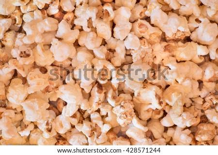 Popped Corn (Popcorn) Close-up Background - stock photo