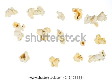Popped popcorn kernel isolated on white background - stock photo