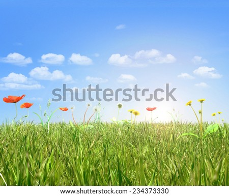 Poppies and dandelion field,blue sky and sun. 3d render. - stock photo