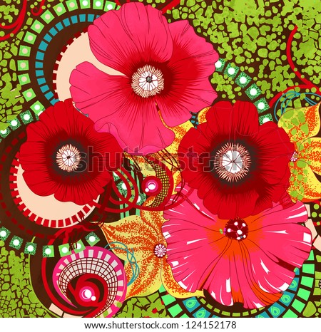 Poppy flower design - stock photo