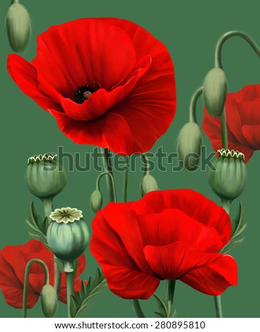 Poppy flowers on a green background, watercolor illustration - stock photo