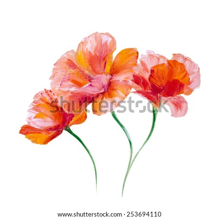 Poppy isolated on white, oil painting - stock photo