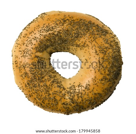 Poppy seed bagel isolated against a white background - stock photo