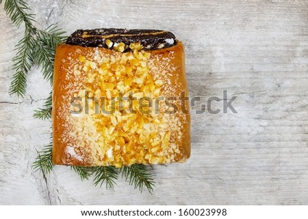 Poppy seed cake on wooden table. Top view, copy space. - stock photo