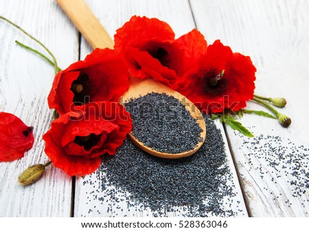 Poppy seeds poppy flowers on wooden stock photo edit now 528363046 poppy seeds and poppy flowers on a wooden background mightylinksfo