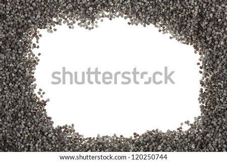 Poppy seeds frame - stock photo