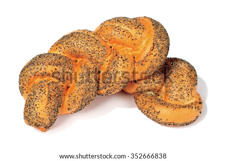 poppy seeds striezel isolated over white background