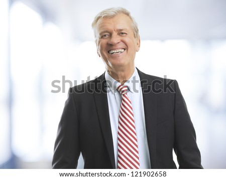 Poprtrait of a senior (mature) businessman standing in office and smiling - stock photo