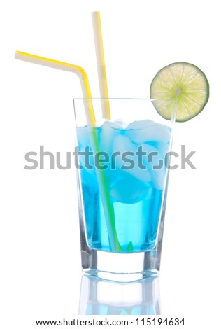 Popular Blue Hawaiian cocktail with alcohol vodka, blue curacao, white cranberry juice and yellow straw in highball cocktails glass isolated on a white background