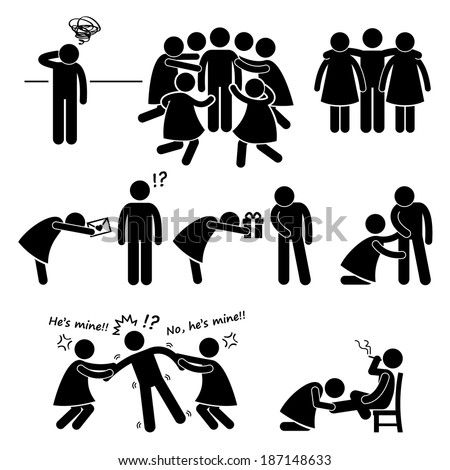 Popular Casanova Womanizer Stick Figure Pictogram Icon Cliparts