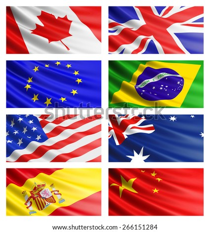 Popular flags collection: American Flag, British Flag, Canadian Flag, Brazilian Flag, Australian Flag, Chinese flag, Spanish flag, Euro flag. - stock photo