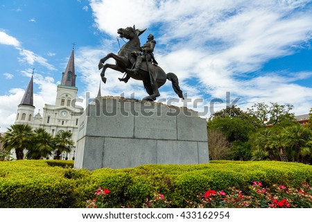 Popular Jackson Square with Andrew Jackson statue and Saint Louis Cathedral in the French Quarter in New Orleans, Louisiana.