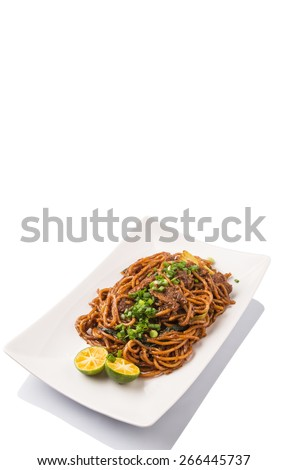 Popular Malaysian stir fried noodles on white plate over white background