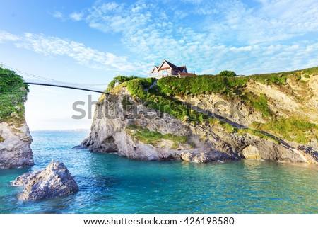 Popular Newquay Atlantic ocean coast, Cornwall, England, United Kingdom - stock photo
