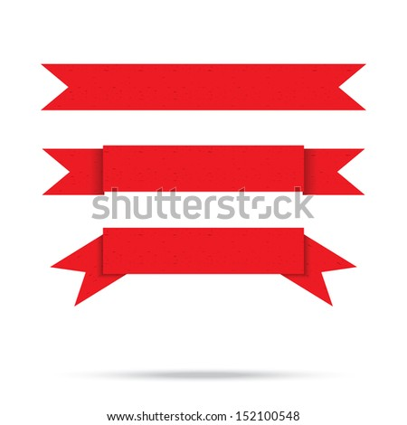 popular red ribbon old paper vintage label banner isolated - stock photo