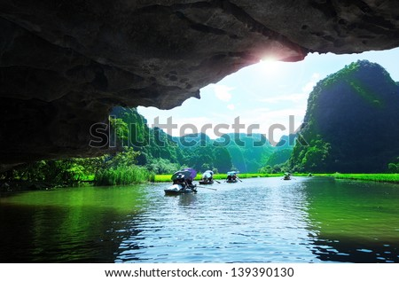 Popular tourist caves in Vietnam - stock photo