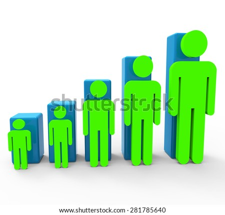 Population Increase Showing Togetherness Improvement And Raise - stock photo