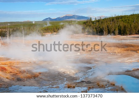 Porcelain Basin in Yellowstone National Park, Wyoming. - stock photo