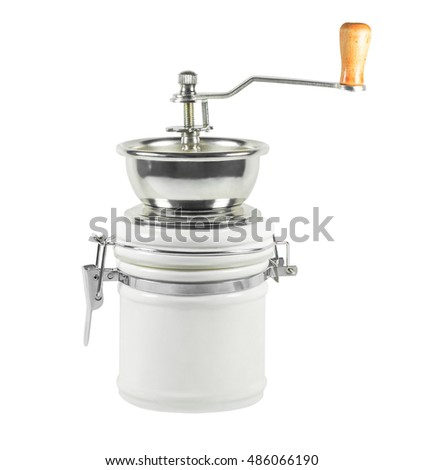 Porcelain coffee grinder isolated on white background