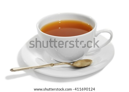 Porcelain cup of tea isolated on white background